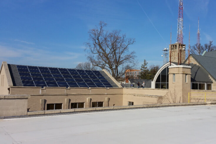 Solar power system installed in a church