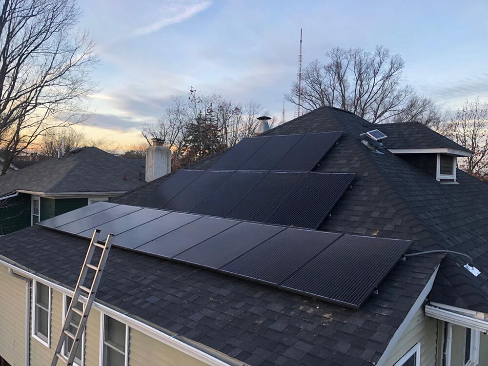 Perfectly oriented PV panels on the twisted roof of a home in Washington DC