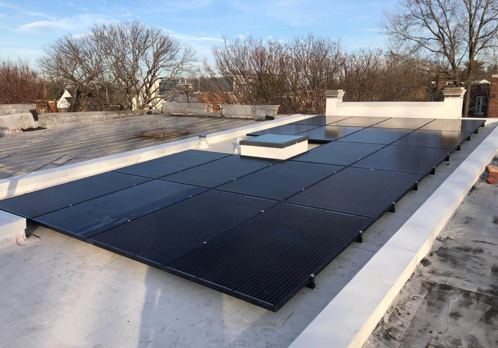 Complete utilization of a flat roof in Washington DC, using U-anchors