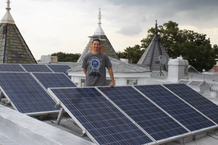 A flat roof solar project in Virginia