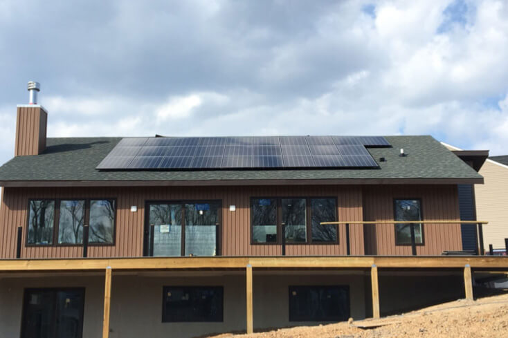 Rooftop solar array on a brand-new home