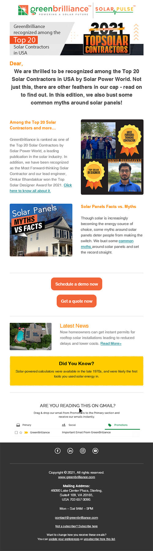 GreenBrilliance recognized among the Top 20 Solar Contractors in USA